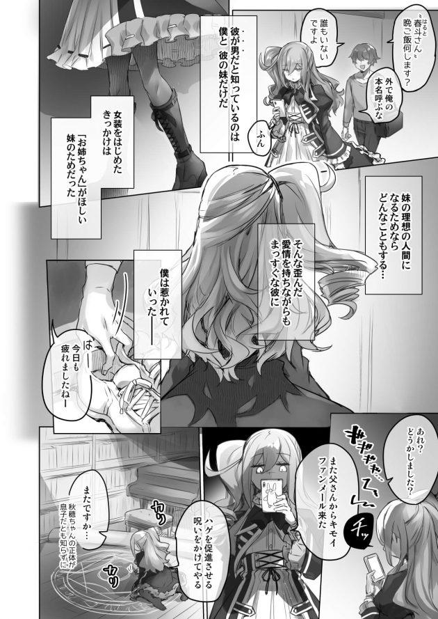 【エロ同人誌】お姉ちゃんが欲しい妹の為に女装配信主をやっている男の娘は怪しいマネージャーから渡された本によって本当に女体化してしまい…【無料 エロ漫画】 (8)