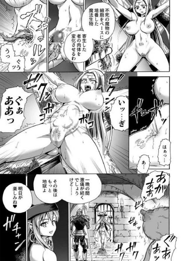 【エロ漫画】敵の魔法使いに捕まり拘束されてしまった巨乳エルフなお姉さんは、そこで彼女から肉体改造をする蟲を寄生させられてしまい…【無料 エロ同人】 (4)